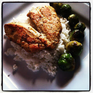 Lemon-pepper chicken w fried brussel sprouts