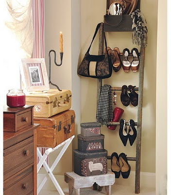 another cool way to use a ladder for holding shoes and accessories awesome space saver great for a dorm and small apartments