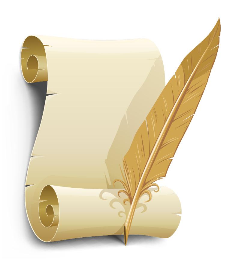 古い巻紙と羽根ペン old paper with quill pen イラスト素材