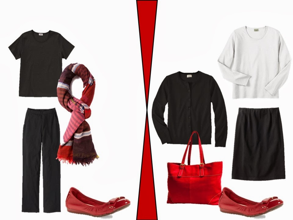 black pants and black skirt with red accessories