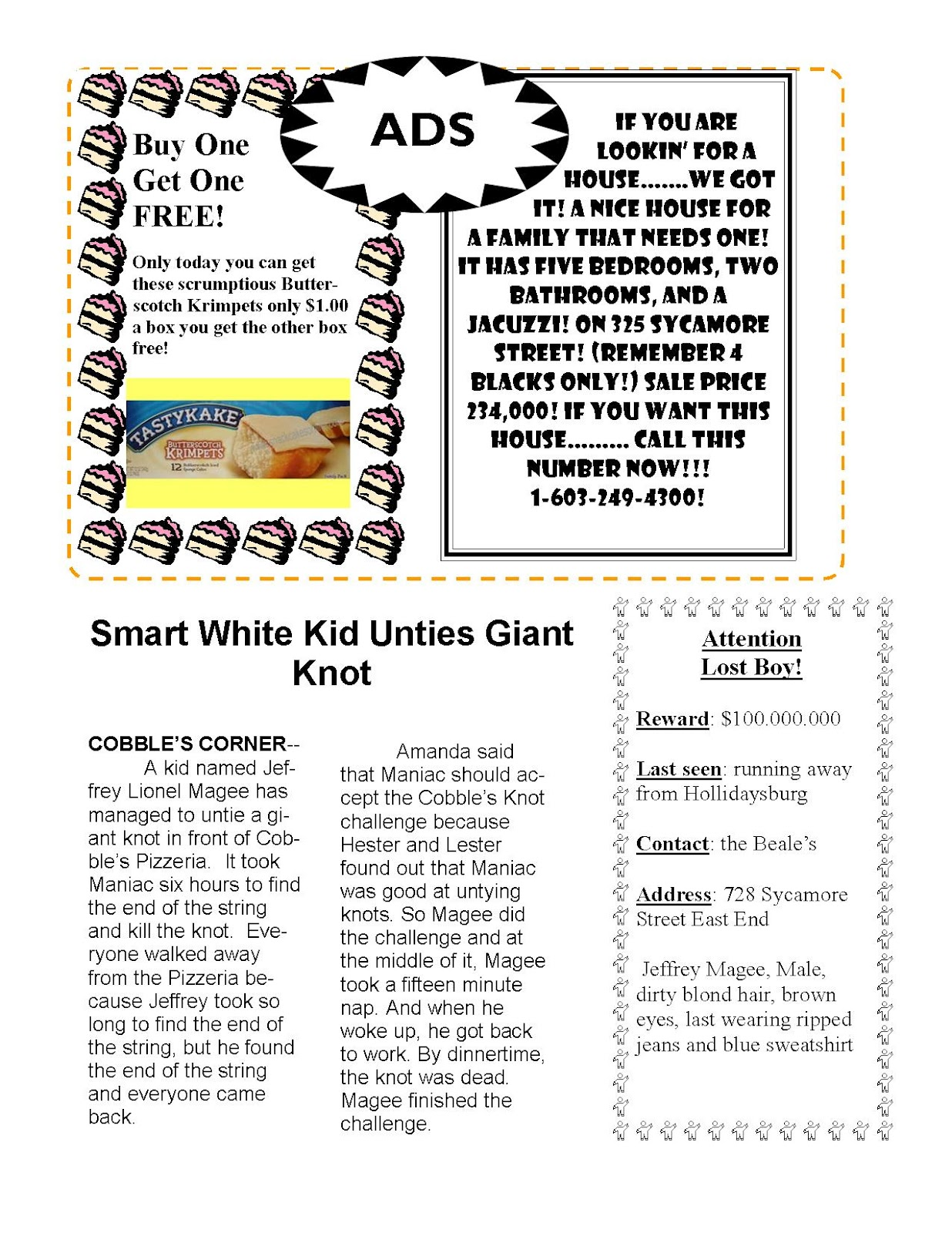worksheet Maniac Magee Worksheets running away essay things to know about win a house contests maniac magee more