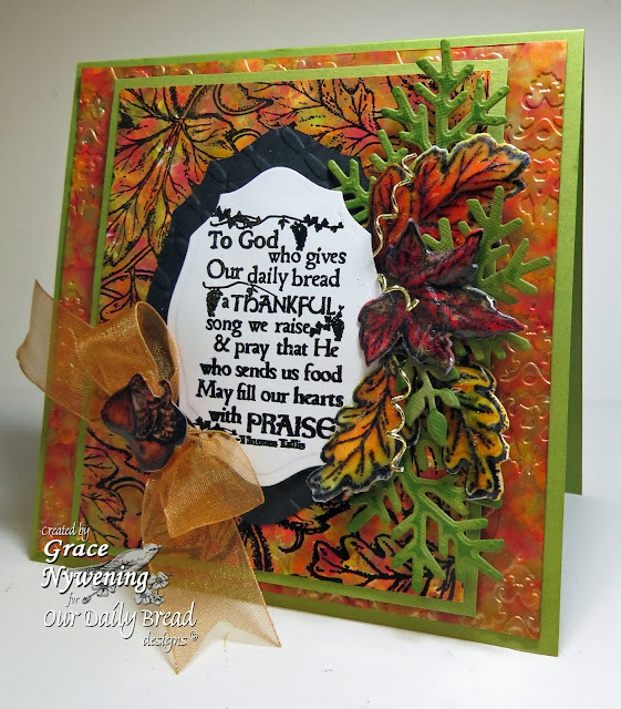 ODBD stamps, Leaves Background, Thankful Song, Autumn Blessings, designer Grace Nywening