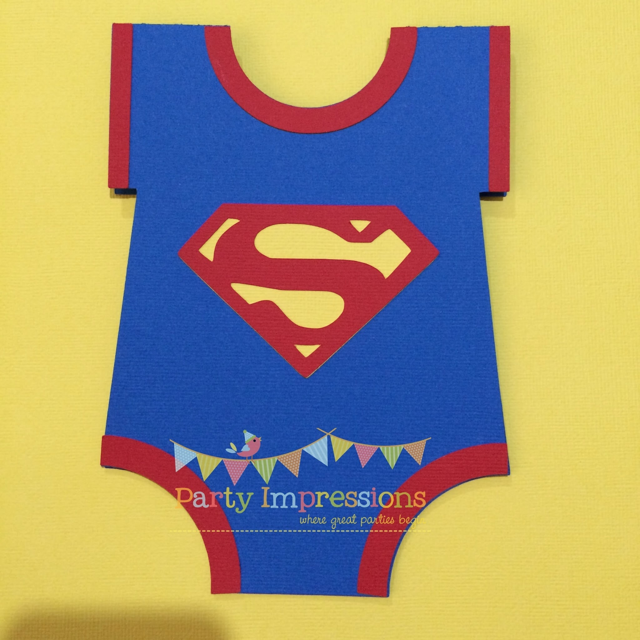 Superman Onesie birthday invitation by Party Impressions