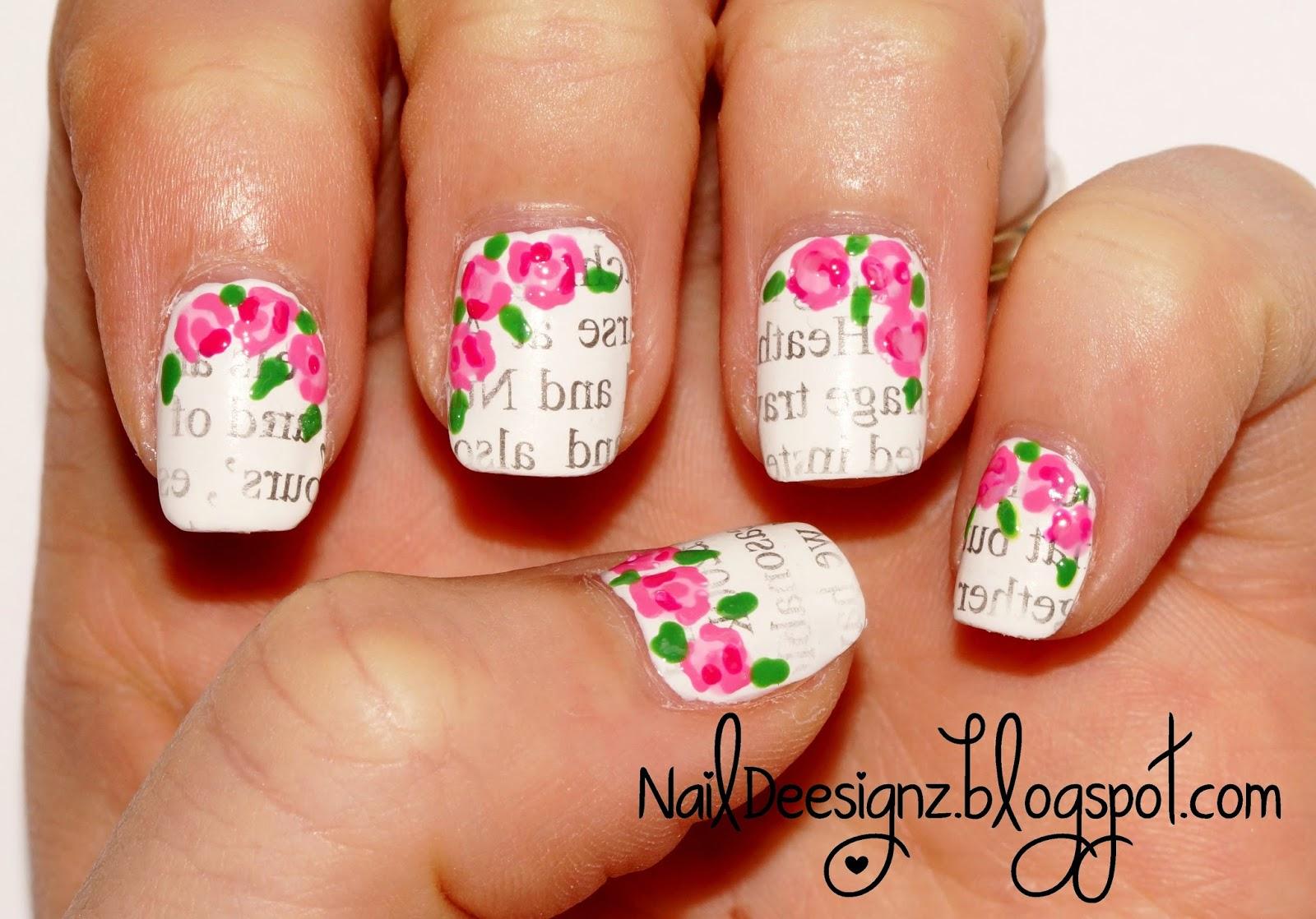 NailDeesignz: Newspaper & Rose Nail Art