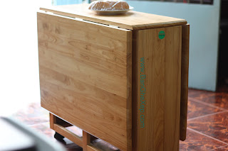 Bộ bàn ghế xếp gấp tự nhiên chữ nhật