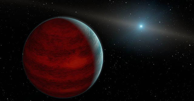 "This artist's concept shows a hypothetical ""rejuvenated"" planet -- a gas giant that has reclaimed its youthful infrared glow. NASA's Spitzer Space Telescope found tentative evidence for one such planet around a dead star, or white dwarf, called PG 0010+280 (depicted as white dot in illustration). Credit: NASA/JPL-Caltech/R. Hurt (IPAC)"