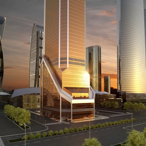 Rendering of lower floors of the Mercury City Tower and streets around the tower