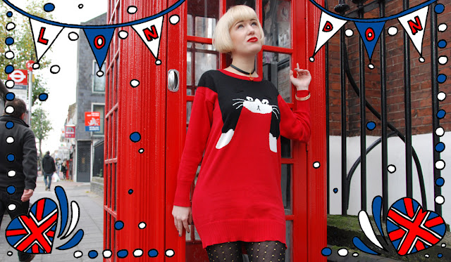 cat jumper, london, phone box, fashion