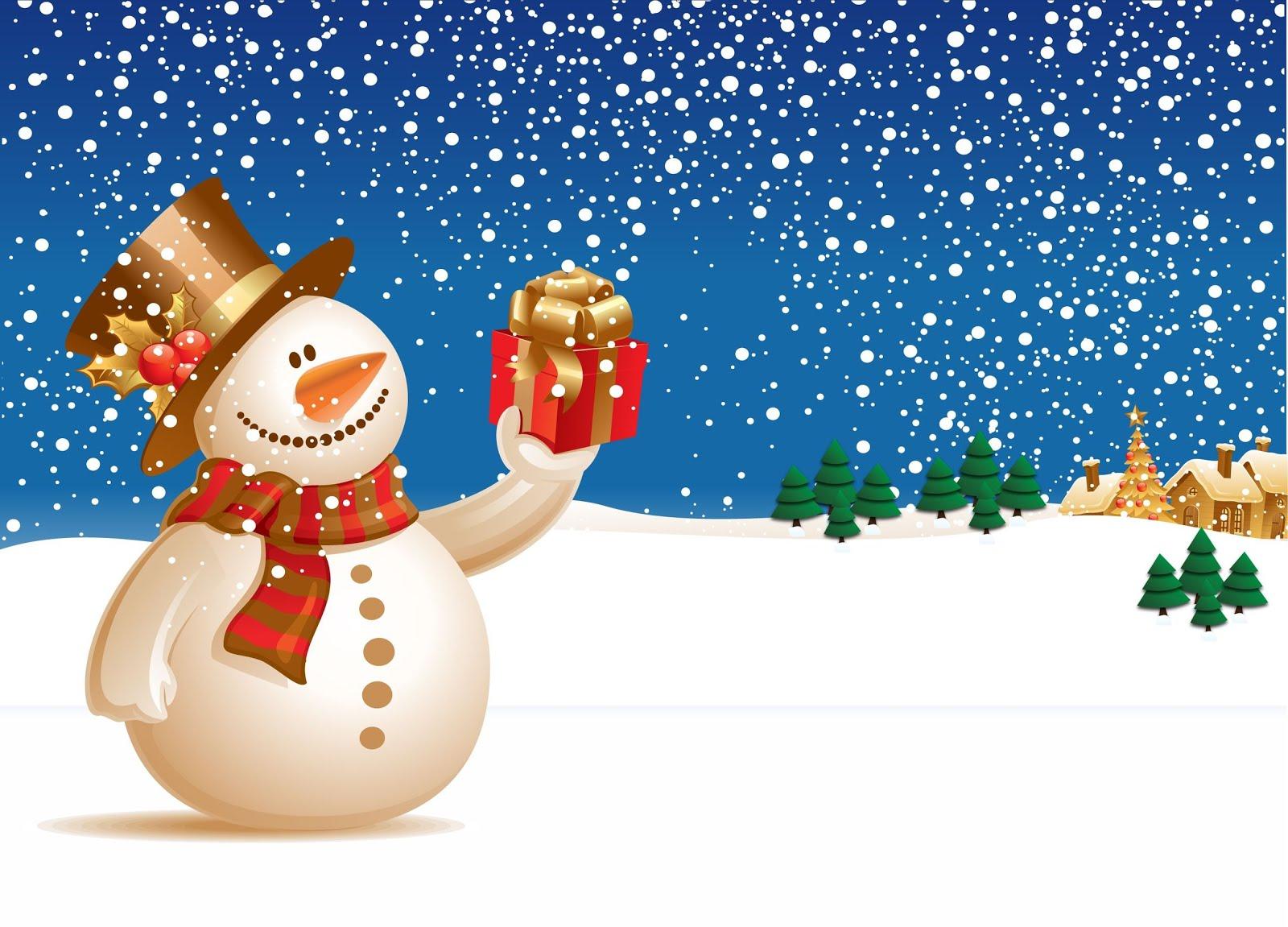 Banco de im genes mu eco de nieve con su regalo en un - Paisaje nevado navidad ...