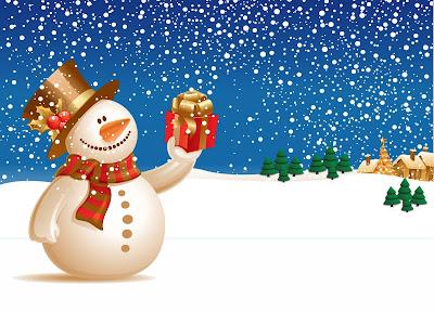 Muñeco de nieve y paisaje con nieve en Navidad