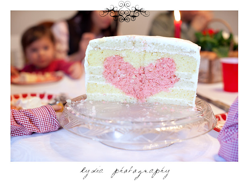 Valentines Day Cake White layer cake with hidden Strawberry or Red Velvet heart inside