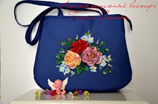 сумки вышитые лентами, сумки ручной работы, авторские сумки