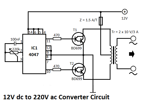 electrical and electronics engineering  12v to 220v converter circuit