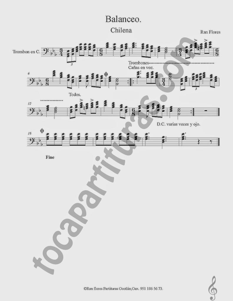Partitura de Balanceo en clave de fá, partitura para trombón, puede servir para instrumentos como chelo, fagot, bombardino, tuba o cualquiera en clave de fa