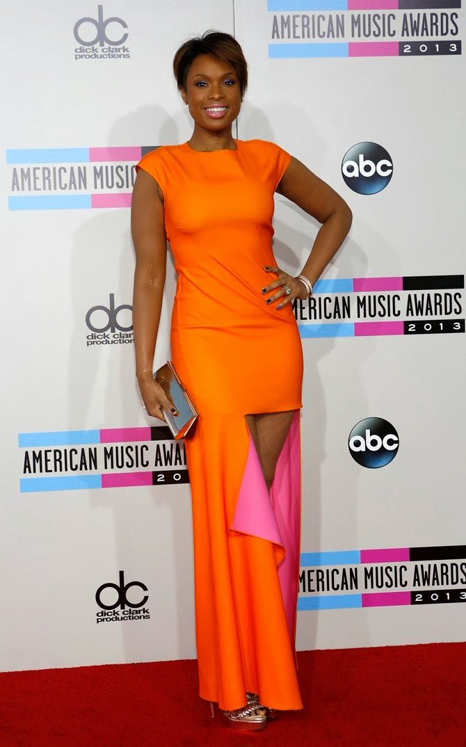 Award-winning singer-actress Jennifer Hudson stood out in her orange outfi