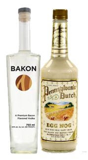 bottle of bakon vodka next to bottle of eggnog