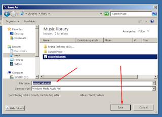 Menyimpan File Hasil Rekaman