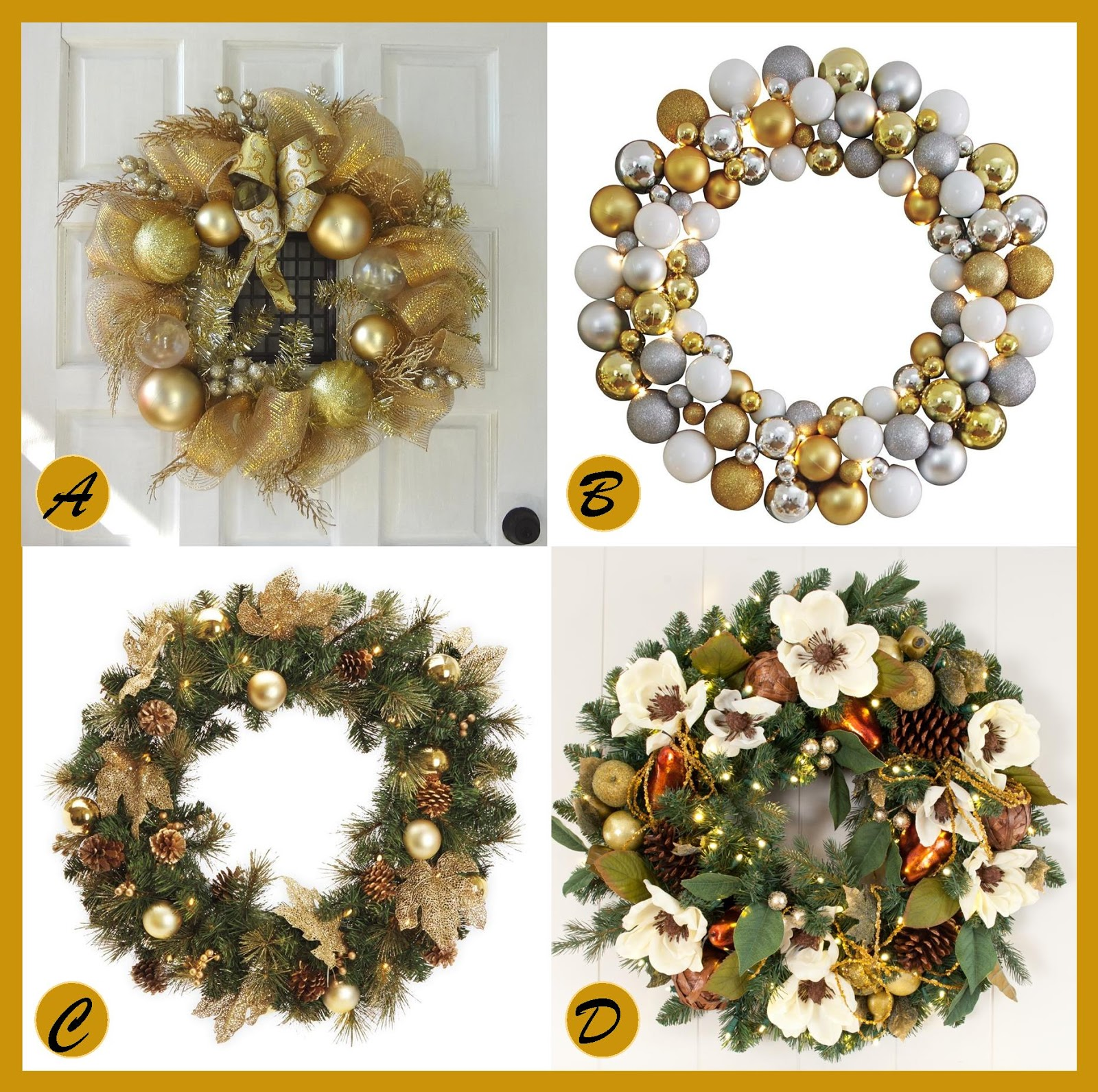 go for the gold this holiday seasonhere are a few beautiful golden themed holiday christmas wreaths that will make a stylish statement on your front
