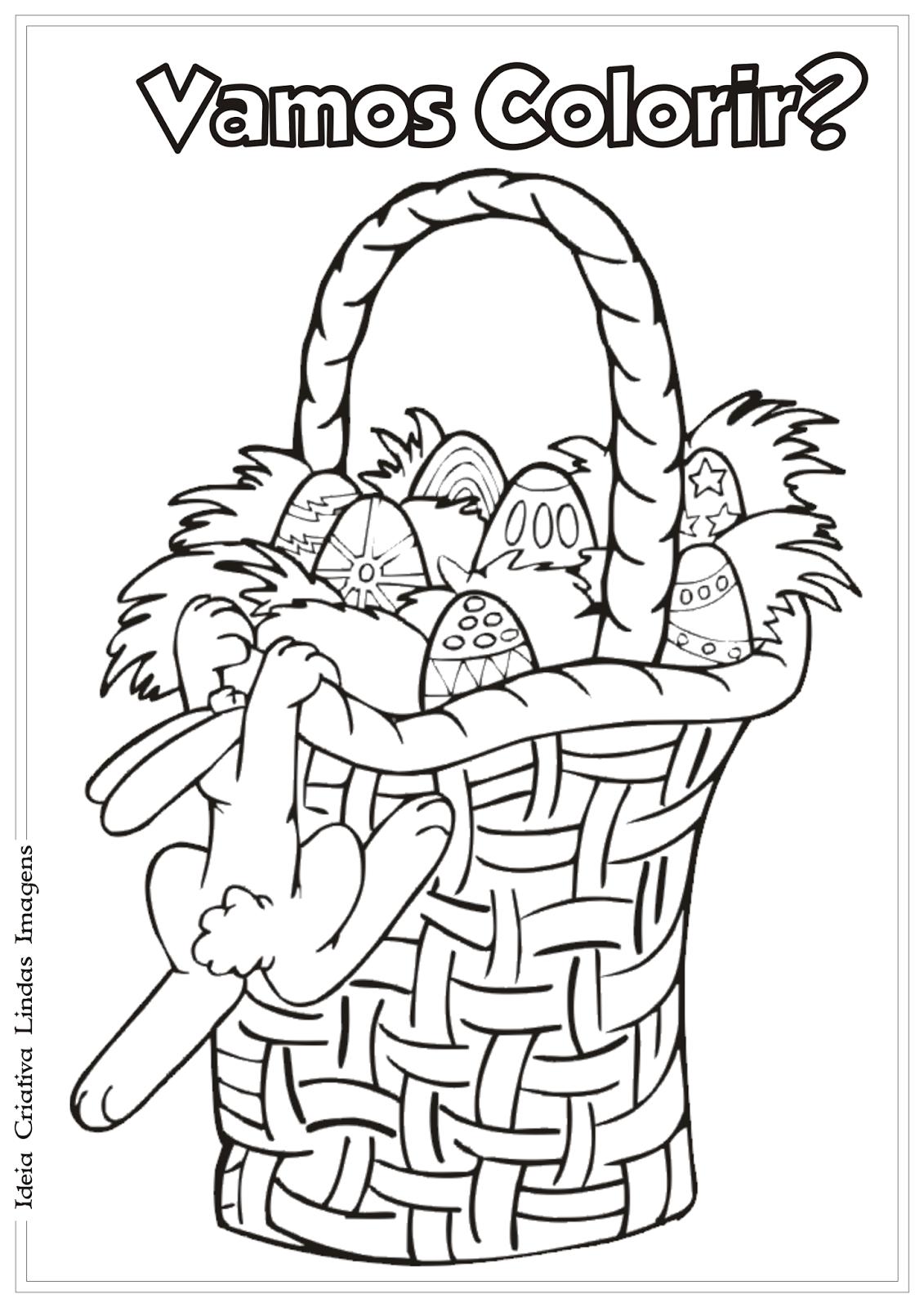 Temática Páscoa Comercial desenho para colorir