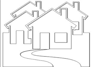 Desenhos Preto e Branco Esbolso de casa linda Colorir