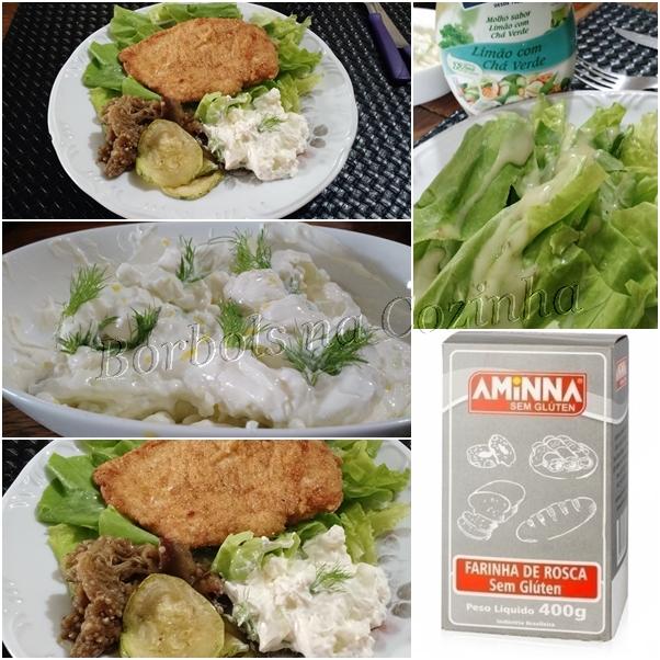 Filé de frango a milanesa sem glúten e uma salada de pepino e cream cheese incrivel