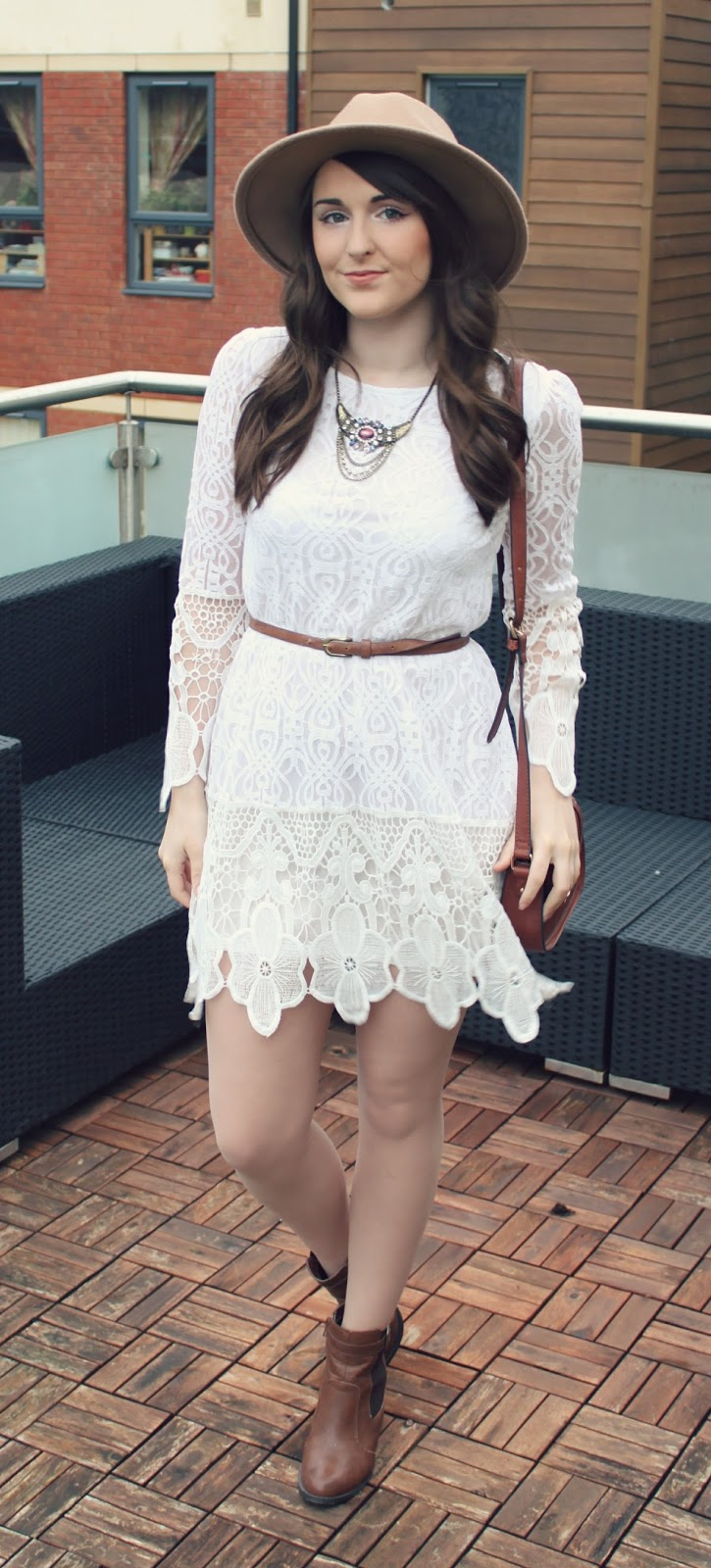 bohemian-style-white-lace-dress-and-brown-accessories