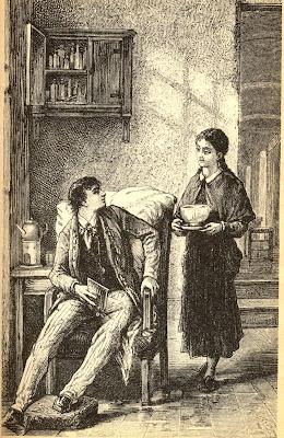 ilustración vintage pareja libro antiguo
