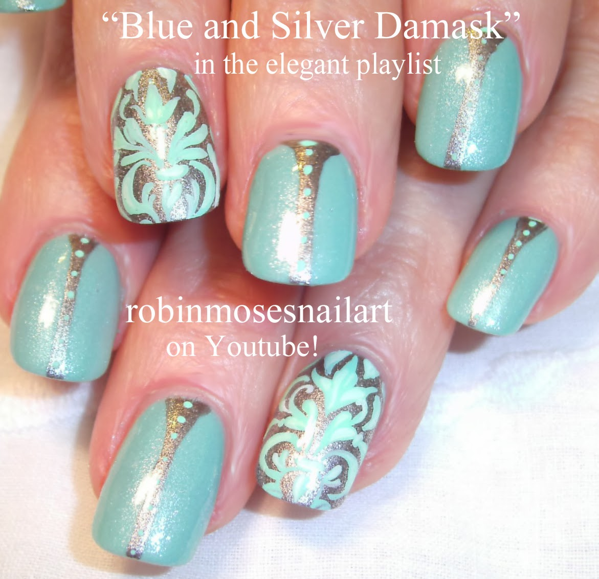 "Elegant Silver Nails For Prom: Nail Art By Robin Moses: ""damask Nails"" ""damask Nail Art"
