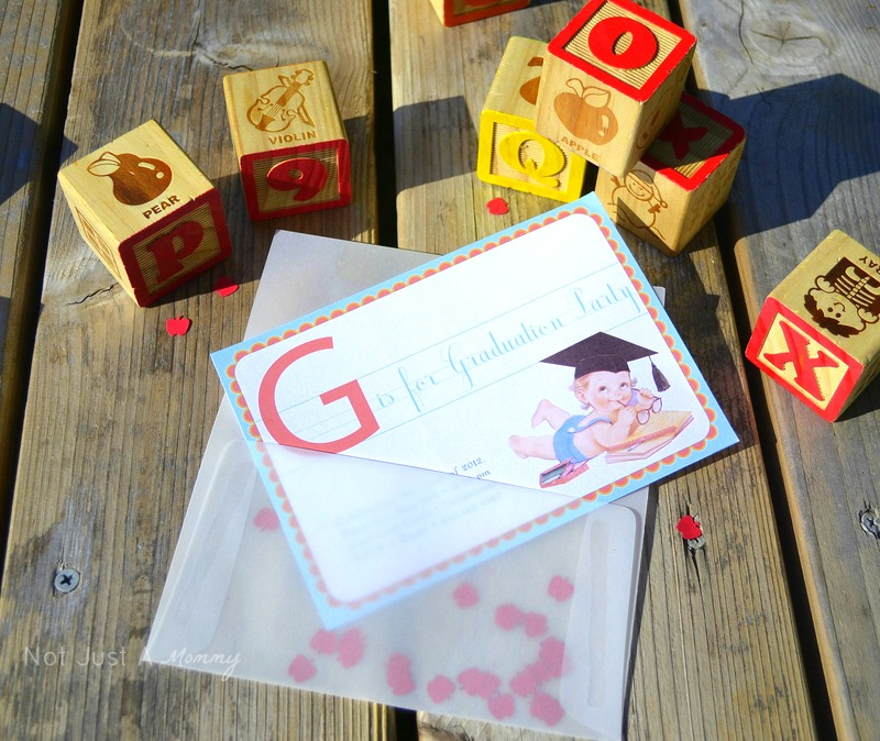 Vintage ABC graduation set invite Sugarsticks Parties