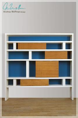 bibliotecas de diseño, madera, laca y tela