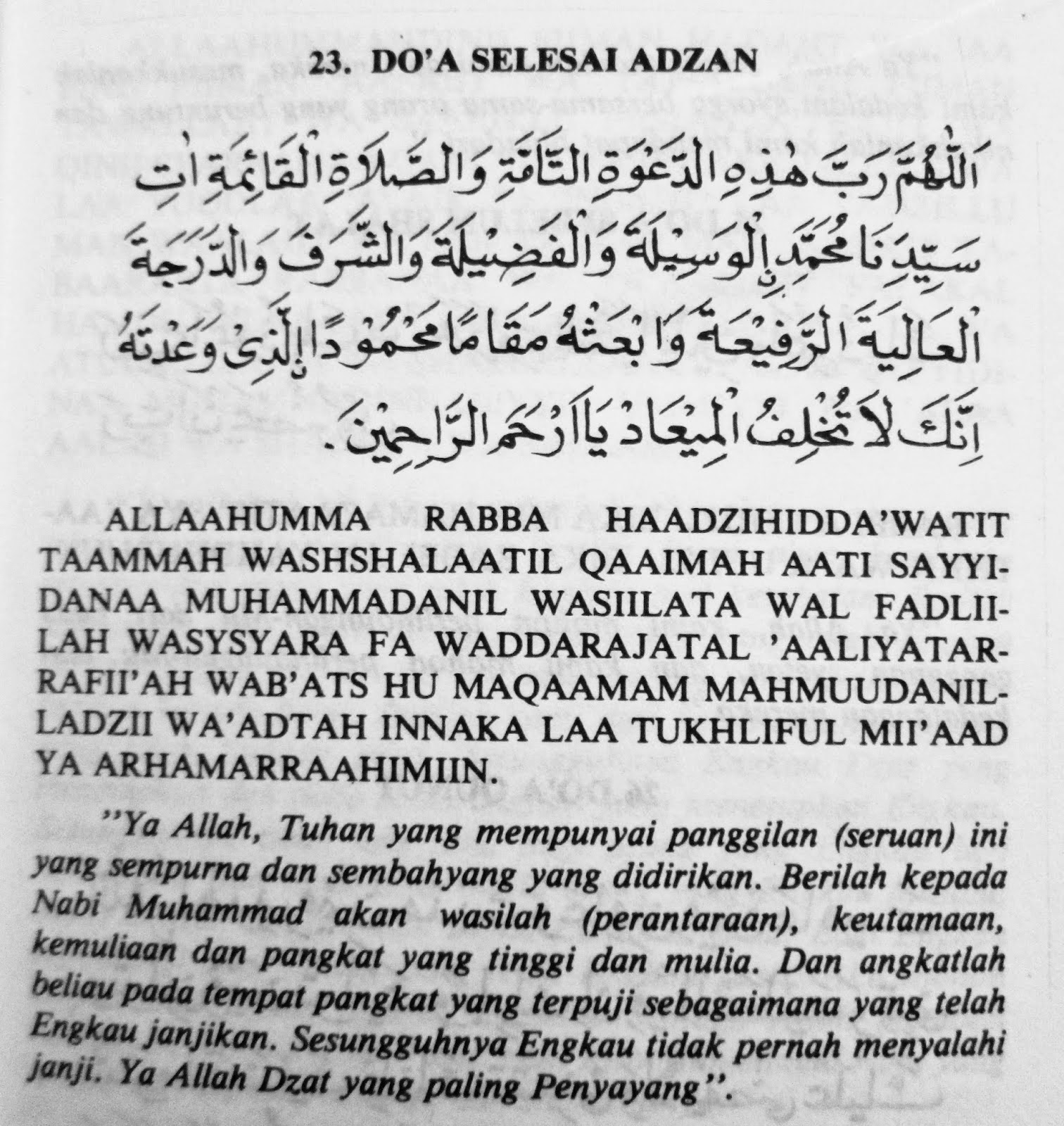 Doa Sesudah Adzan Lima Waktu