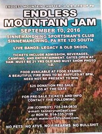 9-10 Endless Mountain Jam, Sinnemahoning