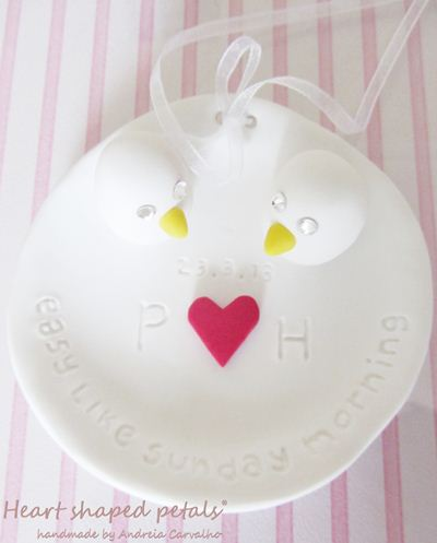 Ring bearer dish with birds and heart