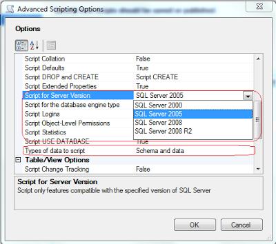 Convert sql server 2008 database to sql server 2005