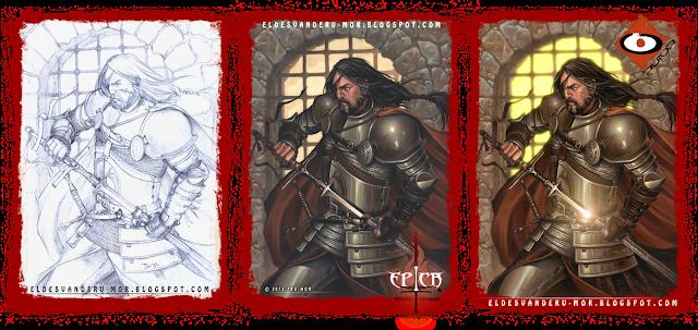 Proceso de ilustración hecha por ªRU-MOR de personaje Oda para ÉPICA: Edades Oscuras, juego de cartas de fantasía medieval y rol