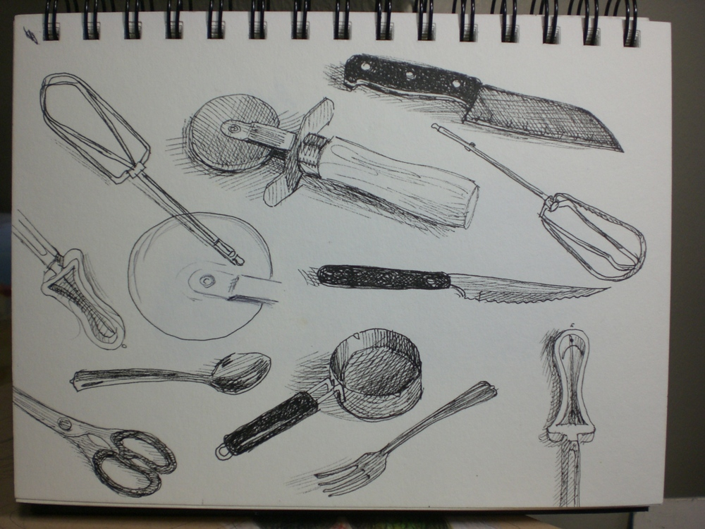 Sketches Of Kitchen Utensils : My Drawing Journal: 75 Day...(ink) sketch a day continued....