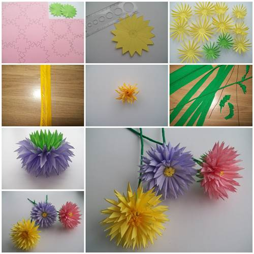 How to make easy paper asters crazzy craft for Easy crafts to make with paper