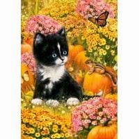 kitten and pumpkins fall garden flag