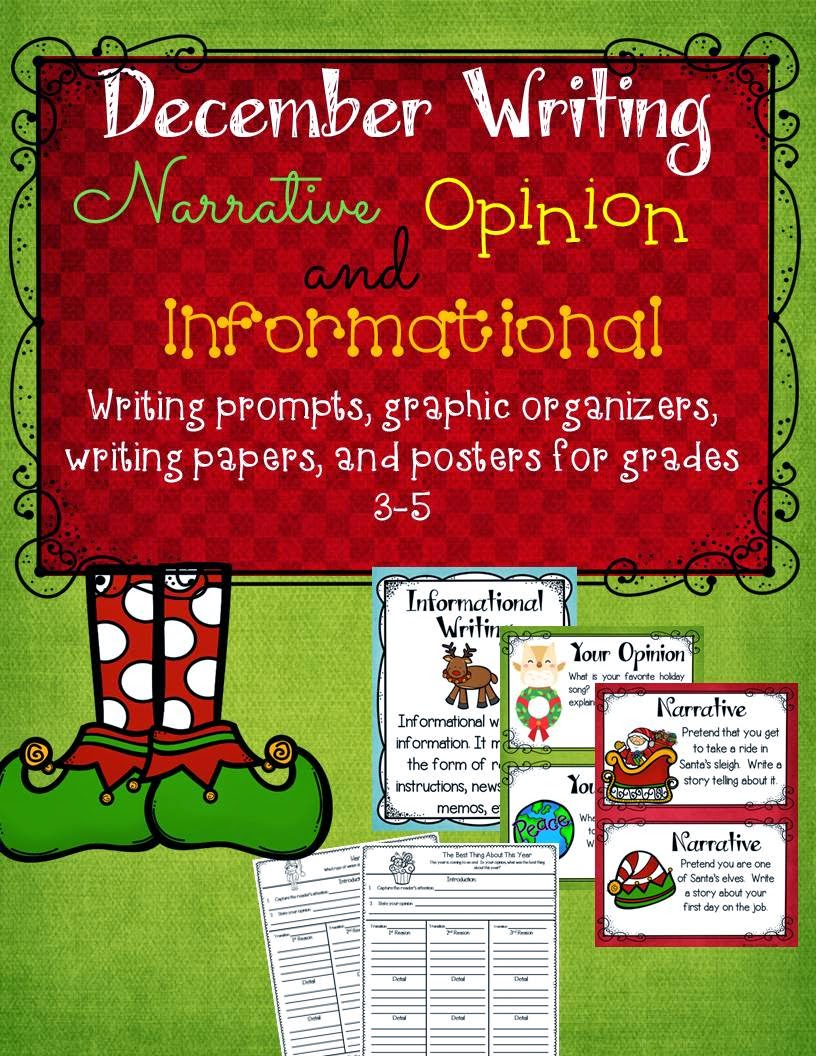 http://www.teacherspayteachers.com/Product/December-Writing-Prompts-Graphic-Organizers-Papers-and-Posters-1587741