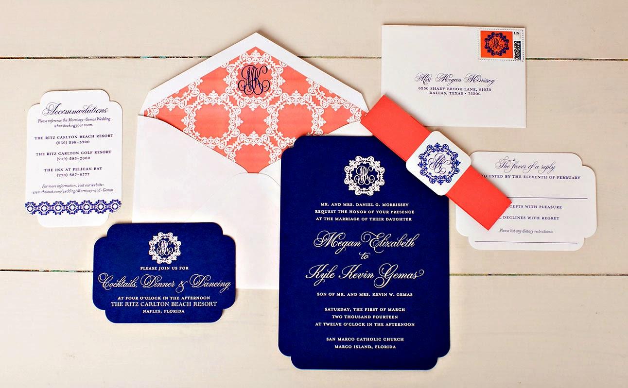 Monogrammed Preppy Wedding Invitation