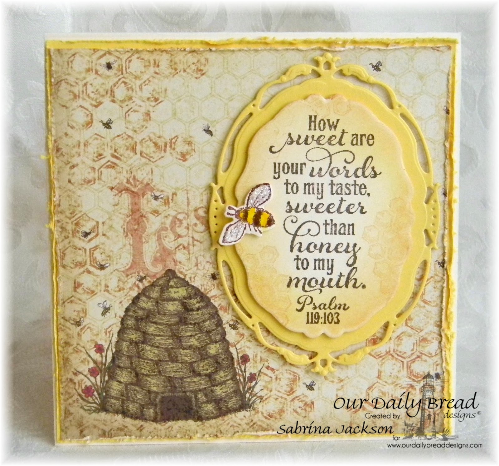 Stamps - Our Daily Bread Designs Bee Happy, Honeycomb Mini Background, Sweeter Than Honey, ODBD Blooming Garden Paper Collection, ODBD Custom Zinnia and Leaves Die