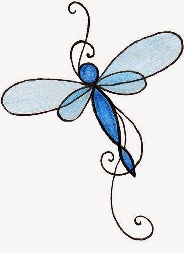 Dragonfly tattoo stencil