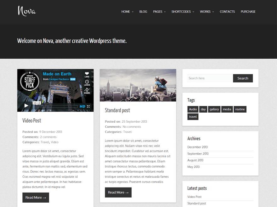 Nova - free premium blog theme