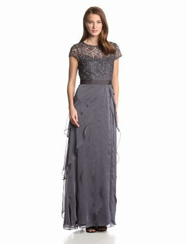 Women's Lace Bodice with Flutter-Drape Gown