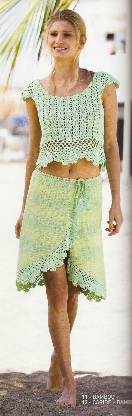 Blusa y Falda a Crochet y Dos Agujas