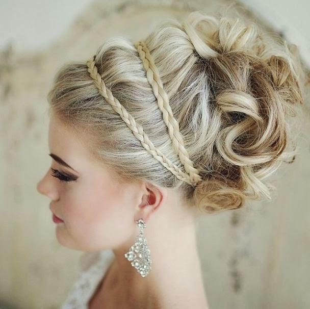 penteados para noivas com tranças e acessórios