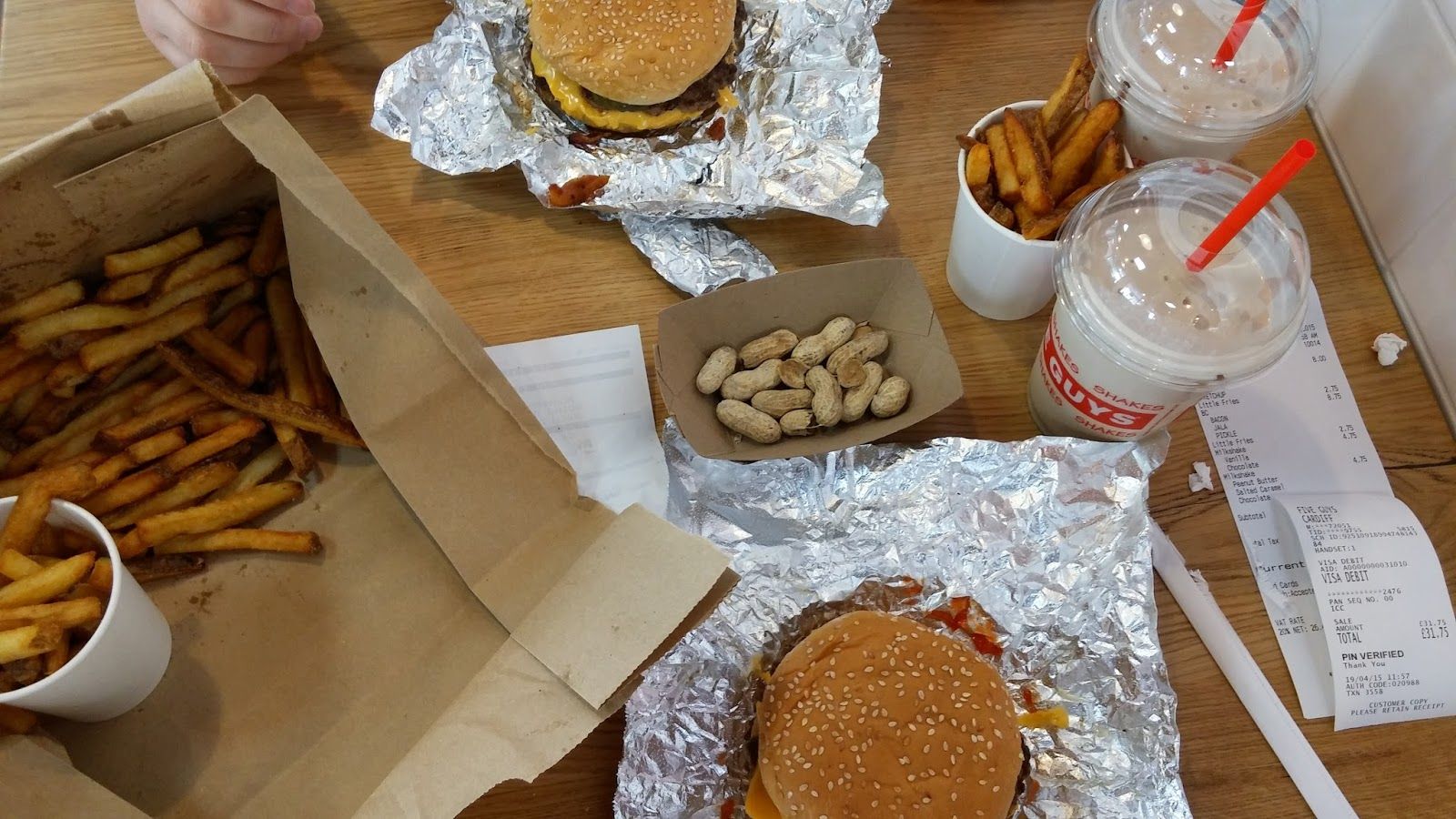 Five Guys Cardiff chips burgers and milkshakes