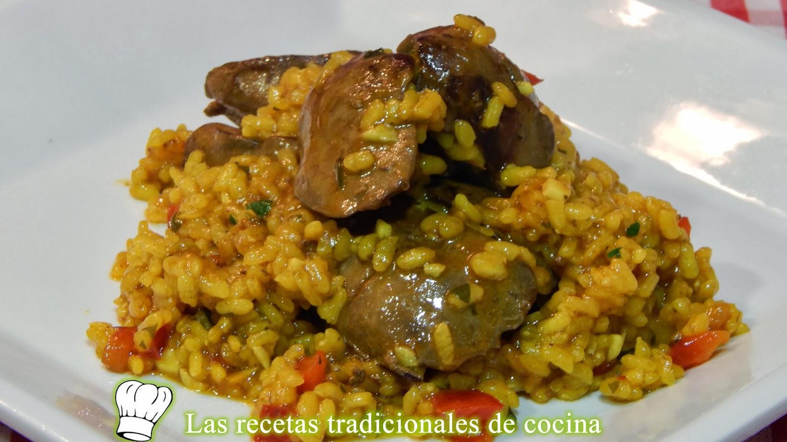 Receta de arroz con hígados de pollo