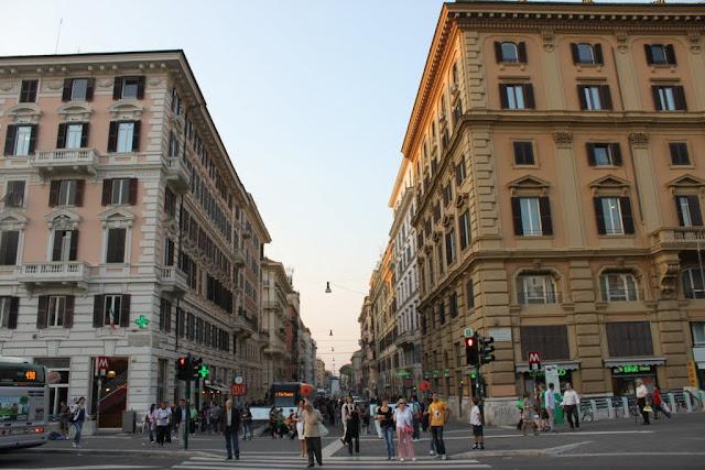 Busy streets near to Porta del Popolo in Rome, Italy