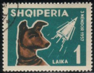 1962年アルバニア共和国 ライカ犬の切手